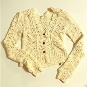 Free People Crochet  V-Neck Knitted Cardigan Large
